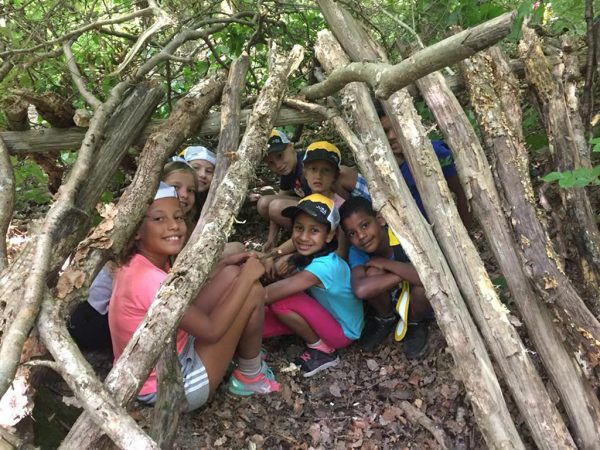 Finishing off our forest fort at Kids Camp
